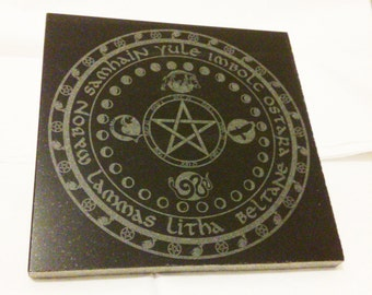 "Pagan Wheel of the Year, 6"" x 6"", engraved in marble tile"