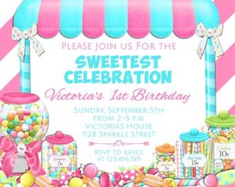 candy birthday invitation candyland invitation candy shop party invitation sweet shoppe printable invitation