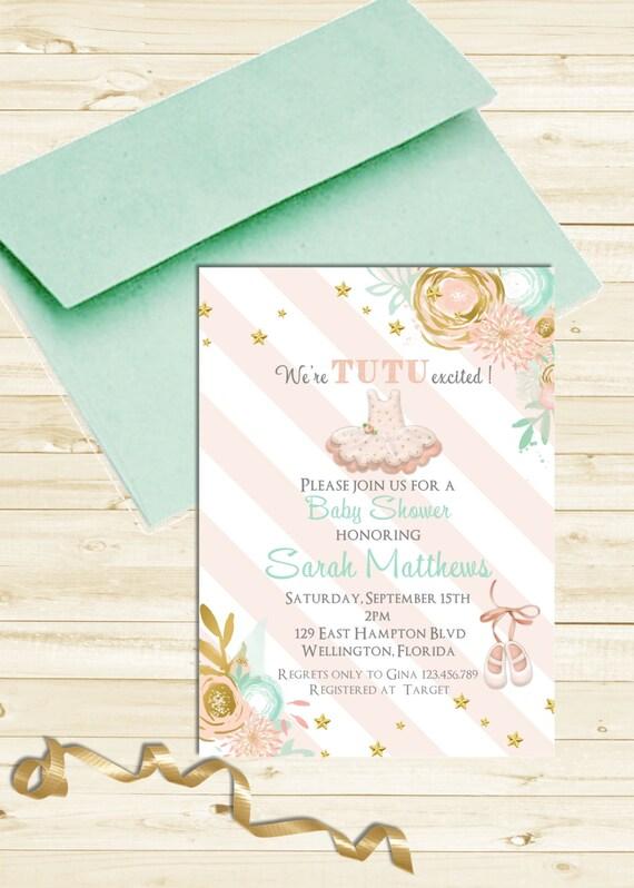 tutu cute baby shower invitation ballerina mint gold pink printable