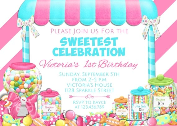 Candy Birthday Invitation Candyland Invitation Candy Shop Party