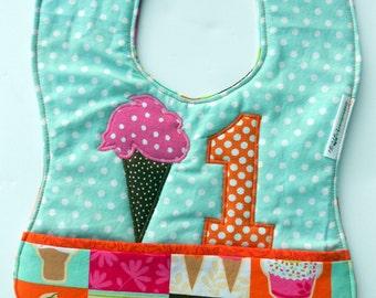 FREE USA shipping, Handmade Girls 1st birthday,1st Birthday Appliqued Ice Cream Cone Bib, Ice Cream Party, Baby Ice Cream Birthday Bib