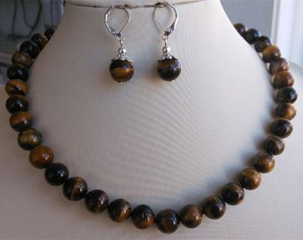 free shipping- 17inch 10mm tiger's eye stone necklace & earring set