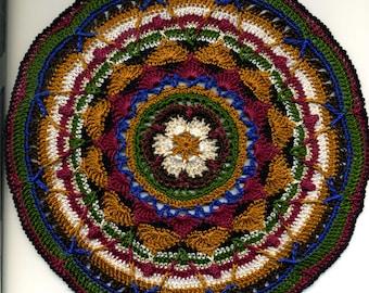 Miniature Round Mandala Mat Carpet Rug or Afghan - Maroon, Gold, Cream, Dark Blue, Green, Black