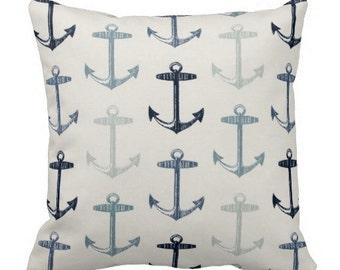 outdoor pillows, outdoor anchor pillow, nautical pillow cover, blue white outdoor pillow, blue pillow covers, nautical pillows, 12 in pillow