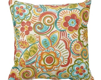 Floral Pillow Covers, Outdoor Floral Pillows, Orange Outdoor Pillows, Outdoor  Pillow Covers,