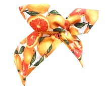 Bright orange fruit print wire Rockabilly Pin up headband hair wrap
