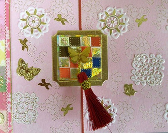 Korean Traditional Designed Envelope with Memo Card -  Butterfly with Tassel