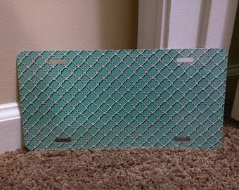 Mint Quatrefoil BLANK metal license plate for personalization