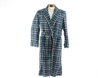 Vintage 50s Plaid Robe Navy Blue Cotton Mens Sleepwear 1950s Large L Pajamas smoking lounge jacket