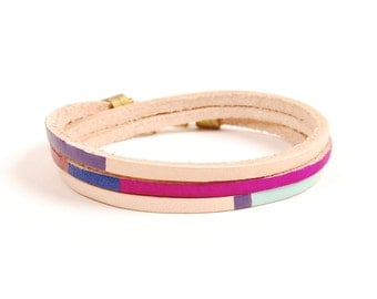 Leather Wrap Bracelet in Natural with Magenta & Violet | BEXAR