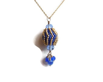 Beaded Winged Bead Pendant Cobalt Blue & Gold  w/Faceted Blue Glass Crystals