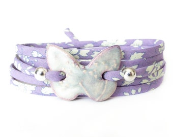 Lilac butterfly bracelet with textured clay charm, special 25th birthday gift, statement bracelet with charm, unique jewellery for women