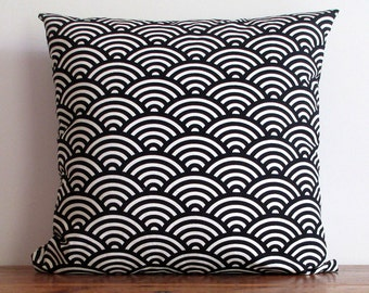 Cushion Cover Black Japanese Wave. Beautiful Graphic Japanese Pattern 100% Cotton. Bold Design Pillow Cover
