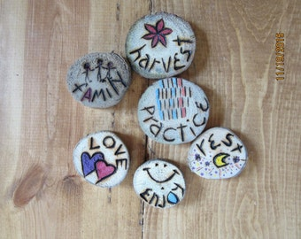 Lot of 6 Tokens of Affection Handcrafted Wood Burned and Painted Driftwood Rounds Inspirational Tokens