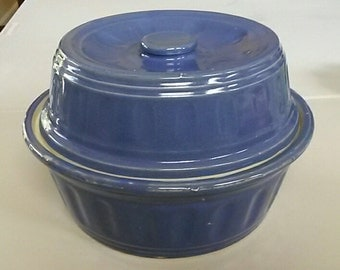 Vintage Royal Blue Stoneware Ovenproof Baking Covered Casserole Dish / USA FREE Shipping