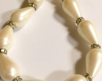 Vintage Faux Pearl with Rhinestones Necklace by Monet