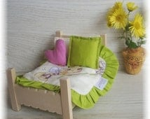 Handmade wooden bed for dolls