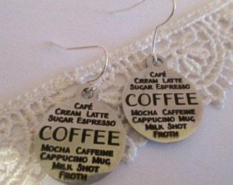 Coffees Silver Earrings