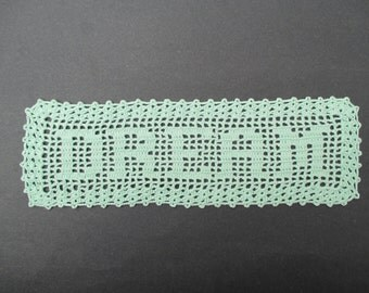Crocheted Doily Dream - Mint Green - Filet - Word Filet Doily