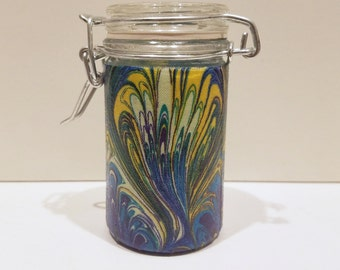 Small Glass Stash Jar : Latch-Top Jar - Paint The Forest Paisley