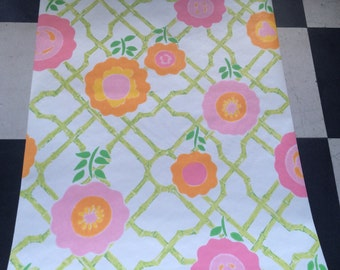 1970s Pop floral vintage wallpaper- by the yard