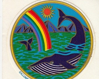 ON SALE Rare Vintage Illuminations Whale in the Ocean Sticker - 1981