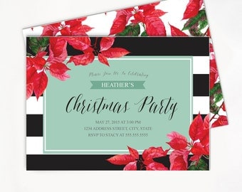 Printable Christmas Invitation with Poinsettia - Ornament Exchange Party Invite - Black and White Strips