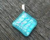 Mermaid scales glass pendant in seafoam chameleon diamond shape
