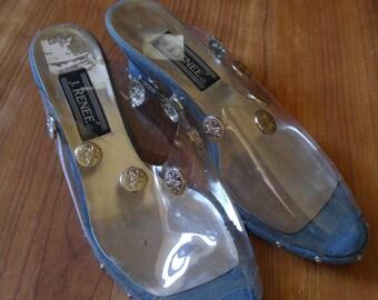 90s J Renee clear plastic and denim wedge sandals