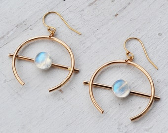 Rainbow Moonstone Orb Earrings, Gold Filled Hoop Earrings, Round Gemstone Earrings, Gold Crescent Earrings, 14K Gold Hoops, Stone Earrings