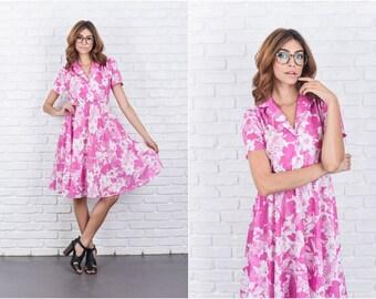 Vintage 80s Pink + White Retro Dress A Line Puff Floral Print shirtdress XS S 7719