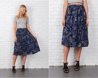 Navy Blue Paisley Print Skirt Vintage 80s  A Line Full S M 8155 Small Medium