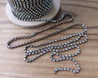 18PP Black Diamond AB Rhinestone Chain Oxidized Brass Yardage 2.5mm Stones Preciosa New (Yard)