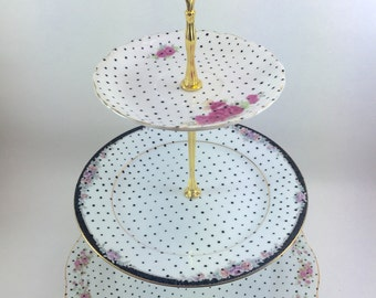 3 Tier Stand Hand Painted Polka Dots Vintage Roses