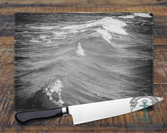 Glass Cutting Board - Black & White Ocean Waves | Beach House Shore Decor | Small or Large Kitchen Art for Your Countertop