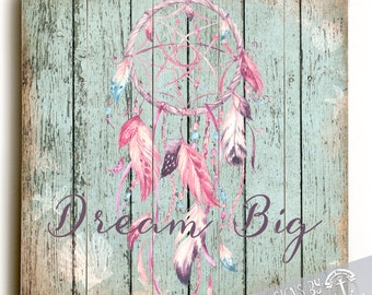 Wood Sign: Dream Big  Dreamcatcher Native Inspired Whimsy Printed Direct On Wood. Nautical Beach House Wall Decor Ready to Hang