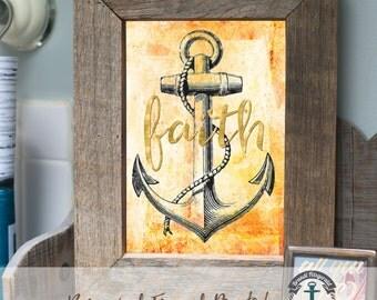 Faith Anchor - Framed Print in Reclaimed Barnwood Beach House Style - Handmade Ready to Hang | Size & Price via Dropdown
