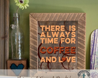 Coffee and Love - Framed Print in Reclaimed Barnwood Bar and Kitchen Style - Handmade Ready to Hang | Size & Price via Dropdown