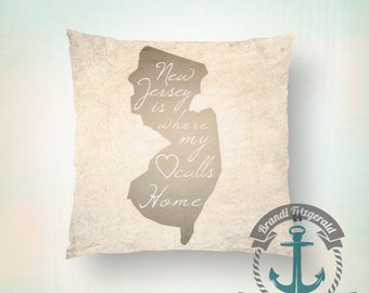 Heart in New Jersey Throw Pillow | Nautical NJ Outline Subtle Warm Colors Beach House Decor  Product Sizes and Pricing via Dropdown Menu