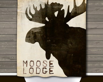 Moose Lodge Shower Curtain: Rustic Lodge Wilderness Cabin Typography   Made in the USA   12 Hole Fabric Bathroom Decor