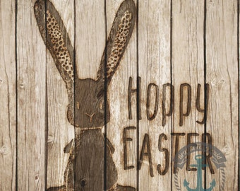 Hoppy Easter Wood Look Bunny Rabbit Shabby Chic Decor | Product Options and Pricing via Dropdown Menu