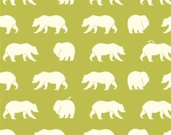 Bear Hike on Grass Green From Birch Organic Fabric's Bear Camp Collection by Jay-Cyn Designs