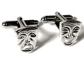 SALE Silver Drama Masks Theater Cufflinks, Men's Handcrafted Tragedy Comedy Cuff Links- Groom Wedding Prom Gift for Man, Stage Actor