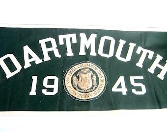 Vintage Sports Memorabilia, Vintage 1945 Dartmouth Green Felt Banner Pennant, Unique Gifts for Sports Fan Fanatics Dad, Man Cave Wall Decor