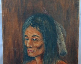 Sale Vintage Oil on Canvas Portrait Painting Art Native American Warrior By Ford 1967 Home Decor