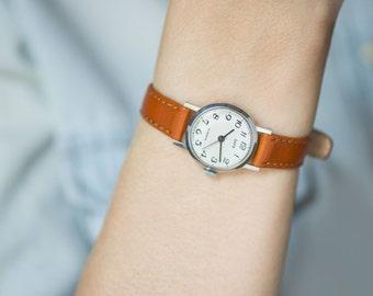 Mechanical lady's watch Dawn, tiny woman watch vintage, minimalist girl watch gift, simple fashion lady watch, premium leather strap new