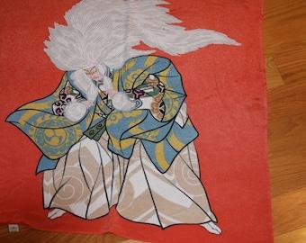 Designer Scarf in Orange Blue White - Design is Asian Kimono Figures  - Fairy Tale