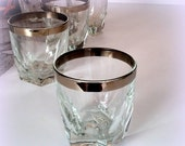 """4-Day SALE Retro Short Whiskey Glasses  - Gleaming Silver Rims - """"Neat"""" Whiskey or After Dinner Liquour - Vintage Bar"""