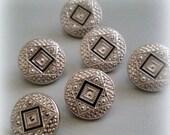 HEART SALE Art Deco Button Lot - Silver Tone & Black