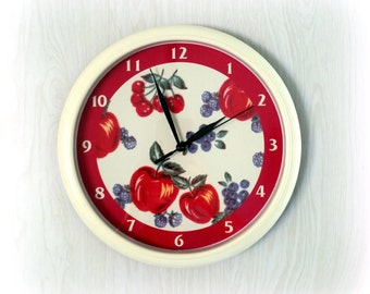 Retro WALL CLOCK - Cherries, Apples & Berries - Battery Operated